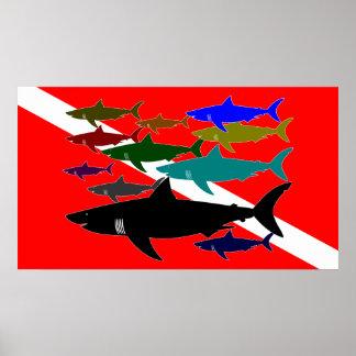 Equipo de submarinismo/poster de los tiburones póster
