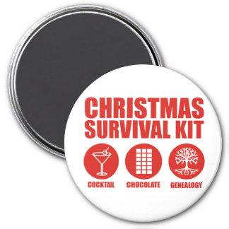 Equipo de supervivencia del navidad - cóctel imán redondo 7 cm