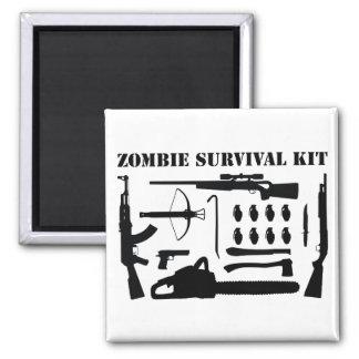 Equipo de supervivencia del zombi imán cuadrado