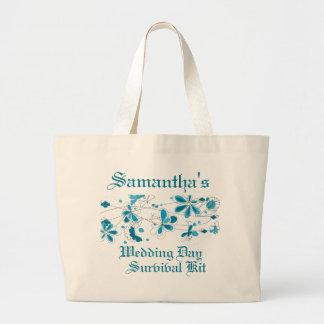 Equipo de supervivencia floral azul del día de bod bolsas lienzo
