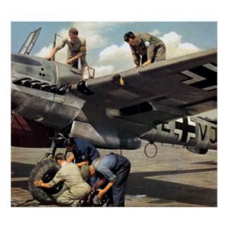 Equipo de tierra de WWII Luftwaffe + ME-110 Póster