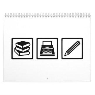 Equipo del autor del escritor calendarios de pared
