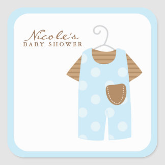 Equipo del bebé azul calcomanía cuadrada