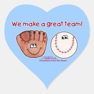 Equipo del béisbol y del guante de béisbol calcomania de corazon personalizadas