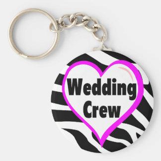 Equipo del boda (rayas de la cebra del corazón) llavero personalizado