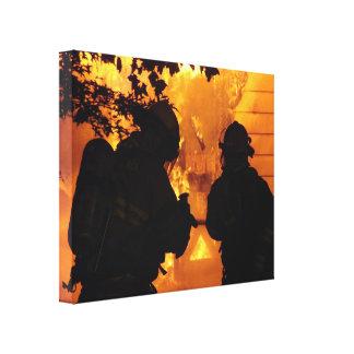 Equipo del bombero impresión en tela