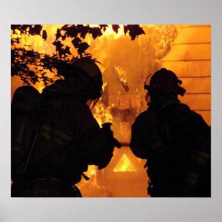 Equipo del bombero póster
