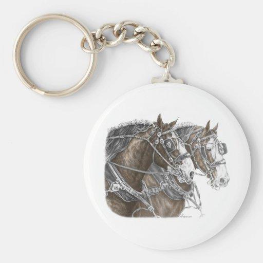 Equipo del caballo de proyecto de Clydesdale Llavero Redondo Tipo Pin
