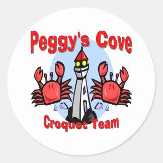 Equipo del croquet de la ensenada de Peggy Pegatina Redonda
