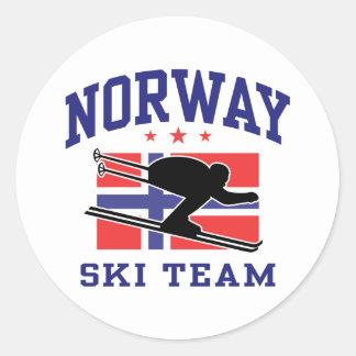 Equipo del esquí de Noruega Pegatina Redonda