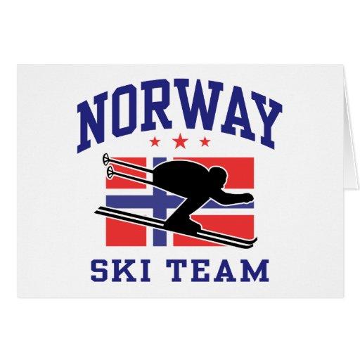 Equipo del esquí de Noruega Tarjeta De Felicitación