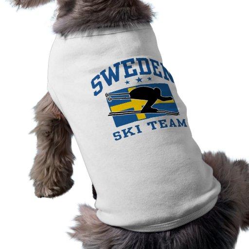 Equipo del esquí de Suecia Playera Sin Mangas Para Perro