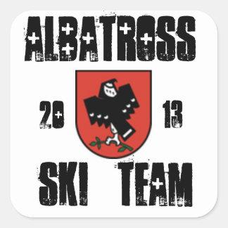equipo del esquí del albatros pegatina cuadrada
