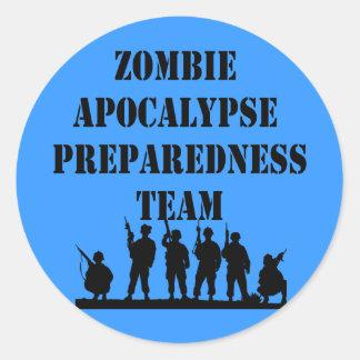 Equipo del estado de preparación de la apocalipsis pegatina redonda