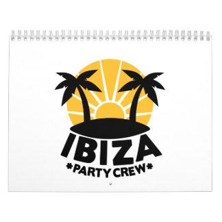 Equipo del fiesta de Ibiza Calendario De Pared