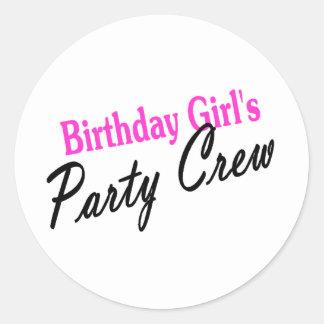 Equipo del fiesta de los chicas del cumpleaños pegatina redonda