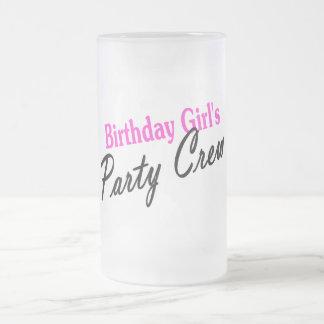Equipo del fiesta de los chicas del cumpleaños taza de cristal