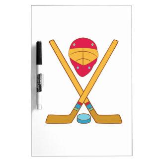 Equipo del hockey pizarras blancas