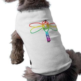 Equipo del perro de la libélula del arco iris playera sin mangas para perro