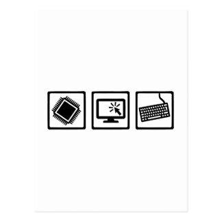 Equipo del programador postales