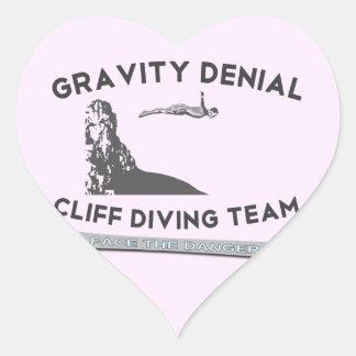 Equipo del salto del acantilado de la negación de pegatina en forma de corazón