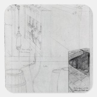 Equipo del sótano de la cerveza, 1825 colcomanias cuadradas