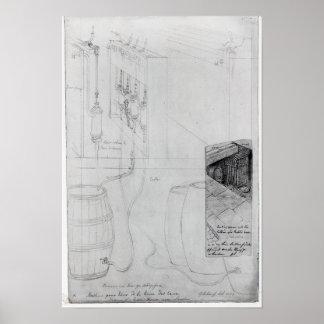 Equipo del sótano de la cerveza, 1825 póster