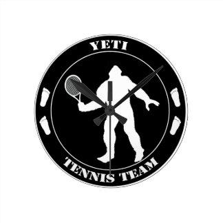 Equipo del tenis de Yeti Reloj De Pared