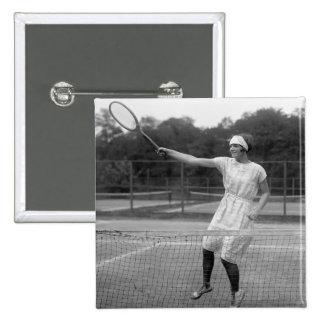 Equipo del tenis del vintage, los años 20 pin cuadrado