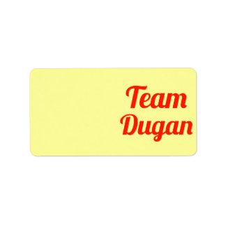 Equipo Dugan Etiqueta De Dirección