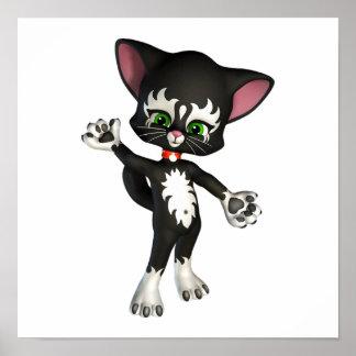 Equipo E. Cat, el gatito lindo del dibujo animado Póster