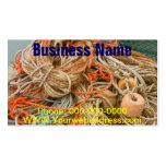 Equipo enredado de la cuerda y de pesca en muelle tarjetas de visita