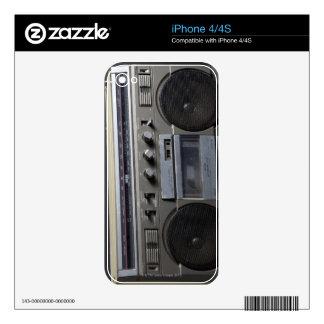 Equipo estéreo portátil arenoso calcomanías para el iPhone 4