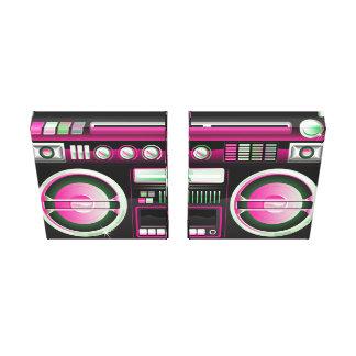 equipo estéreo portátil de neón rosado retro del a impresión en lona