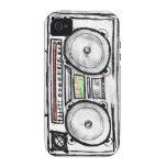 Equipo estéreo portátil del vintage vibe iPhone 4 funda