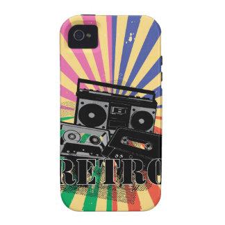 Equipo estéreo portátil y casetes retros del Case-Mate iPhone 4 funda