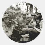 Equipo francés de la ametralladora de WWI Pegatina Redonda