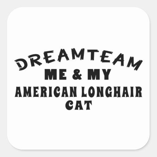 Equipo ideal yo y mi gato de pelo largo americano pegatina cuadrada