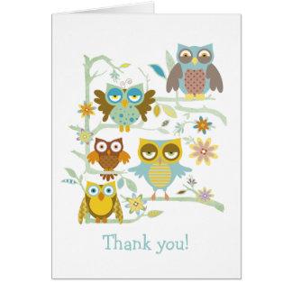 Equipo lindo de los búhos tarjeta pequeña