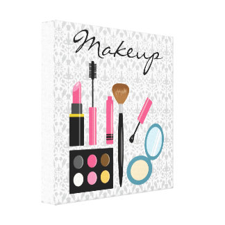 Equipo lindo elegante del maquillaje impresión en lona