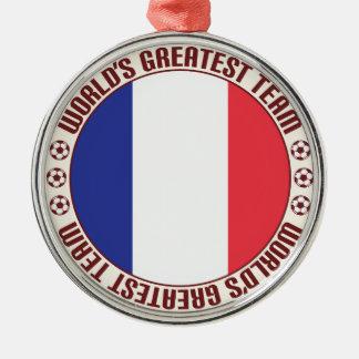 Equipo más grande Francés de la Guayana Adorno Redondo Plateado