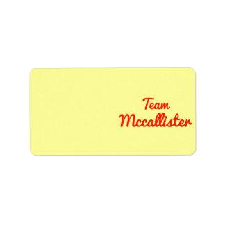 Equipo Mccallister Etiquetas De Dirección