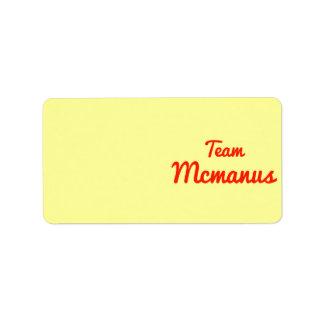 Equipo Mcmanus Etiquetas De Dirección