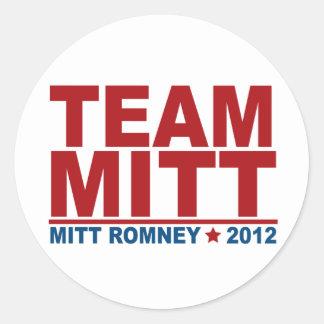 Equipo Mitt Romney 2012 Pegatina Redonda