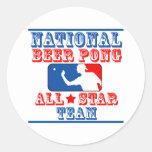 Equipo nacional de Pong de la cerveza Pegatinas Redondas