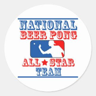 Equipo nacional de Pong de la cerveza Pegatina Redonda