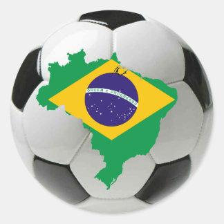 Equipo nacional del Brasil Pegatina Redonda