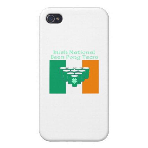 Equipo nacional irlandés de Pong de la cerveza iPhone 4 Carcasa