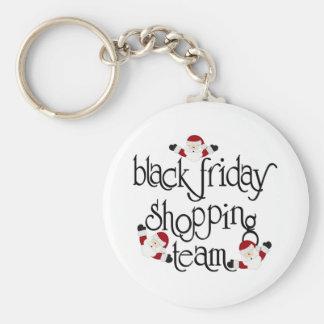 Equipo negro de las compras de viernes llavero personalizado