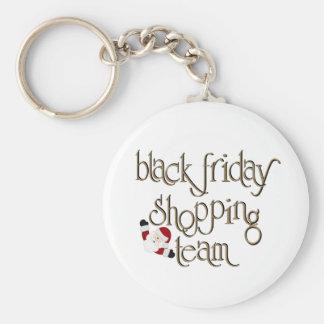 Equipo negro de las compras de viernes llaveros personalizados